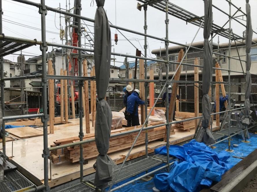 新潟市東区長者町WAKURAS新築工事、無事上棟しました
