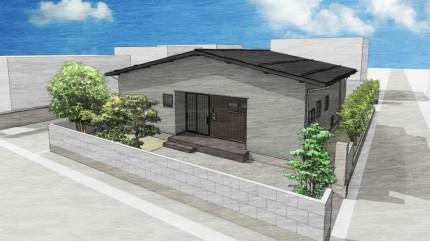 新町の家平屋若蔵 外観パース