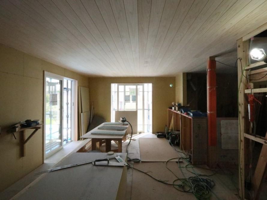 朝日の家新築工事WAKURAS、造作工事追い込み