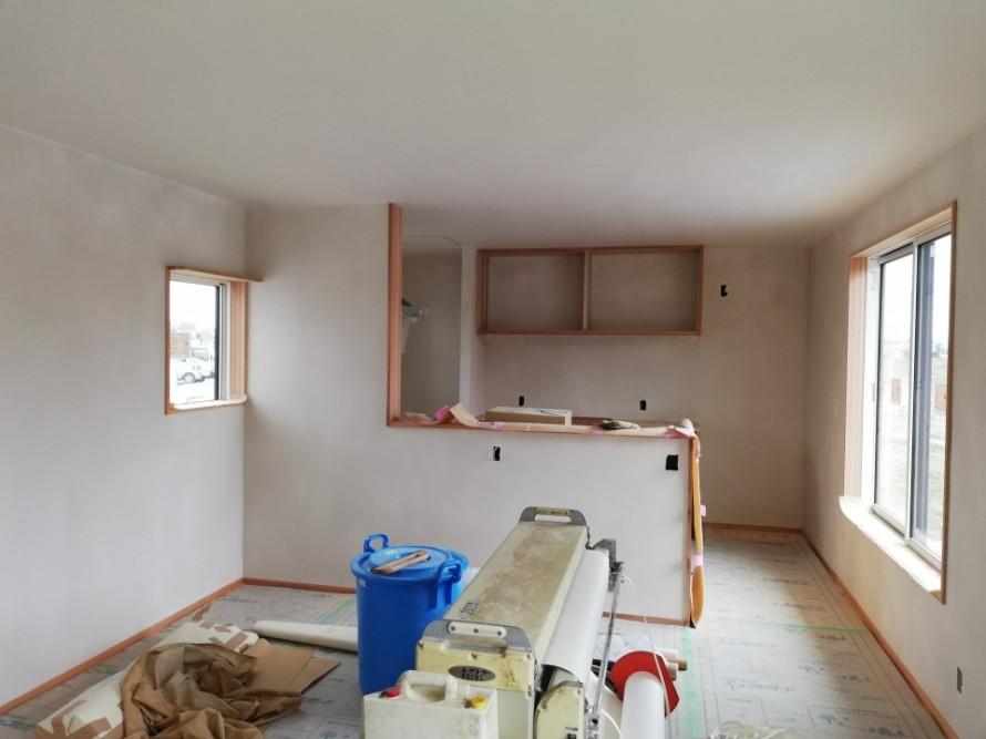長期優良住宅 阿賀野市の家、内装仕上げ進行中。