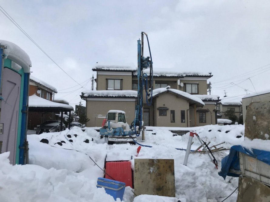 江南区亀田東町の平屋新築工事での地盤改良