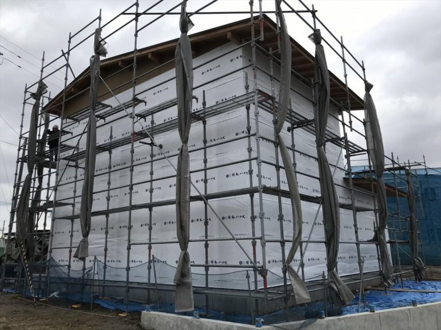 阿賀野市の家WAKURAS長期優良住宅H様邸、外部外壁下地完了